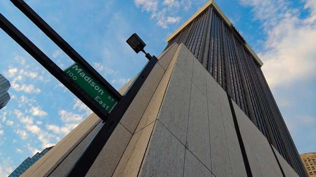 AUG 23, 2015 - BBT Park Tower full height at Madison Street, Downtown Tampa, FL