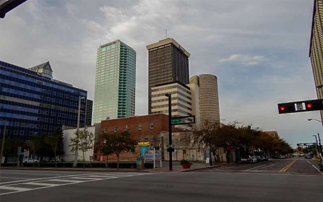NOV 15, 2015 - Bank of American building (L) BB&T Building (C) and Sykes Rivergate Tower (R) from Zack St and Florida St, Tampa, FL/photonews247.com
