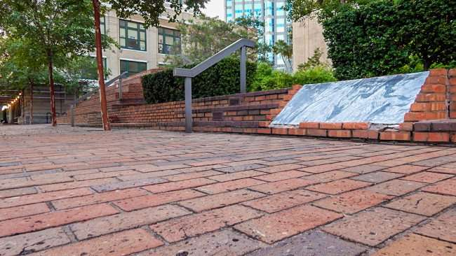 AUG 9, 2015 - Brick sidewalk at Tampa Municipal Office building leading to the Old City Hall along Kennedy Blvd, Downtown Tampa, FL/photonews247.com