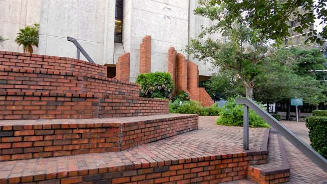 AUG 9, 2015 - Brick steps to the back of Tampa Municipal Office building facing Kennedy Blvd, Tampa, FL/photonews247.com
