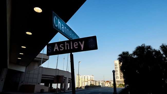 AUG 9, 2015 - Channelside Drive and Ashley Drive at end of Tunnel leading to Platt St Bridge of Hillsborough River, Tampa