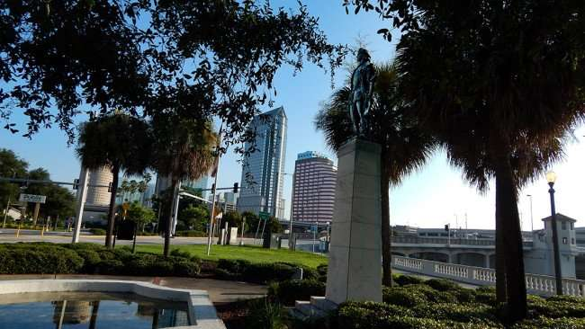 AUG 9, 2015 - Christopher Columbus statue on engraved pillar in Columbus Statue Park in Tampa, FL/photonews247.com