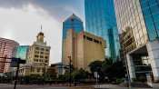 AUG 9, 2015 - (buildings L to R) Wells Fargo (copper color), BMO Harris Plaza, City Hall (with clock tower), Tampa Municipal Office (grey concrete), SunTrust Financial Center (point at top), PNC One Tampa Center Plaza. Far right is the Fifth Third Center seen from Franklin St and Kennedy Blvd, Tampa, Florida/photonews247.com
