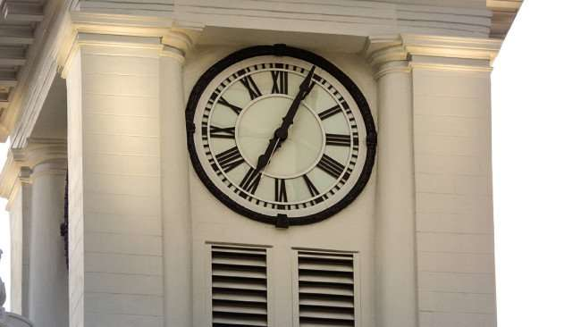 AUG 9, 2015 - Closeup of Tampa City Hall clock on tower, Tampa, FL/photonews247.com
