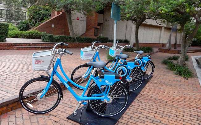 AUG 9, 2015 - Coast rental bikes at Municipal Office Government building Downtown Tampa, FL/photonews247.com
