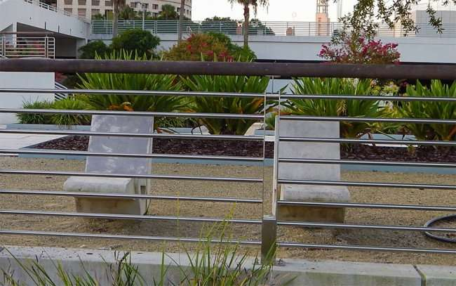 AUG 23, 2015 - Concrete lounge chairs at Curtis Hixon Waterfront Park, Tampa, FL/photonews247.com