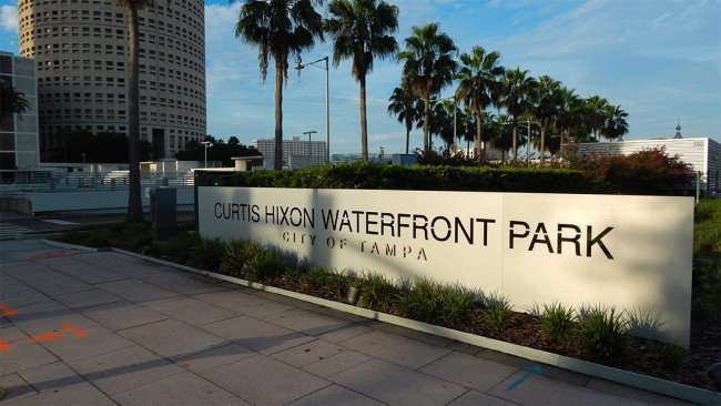 AUG 23, 2015 - Curtis Hixon Waterfront Park with Rivergate Tower in background, Downtown Tampa/photonews247.com