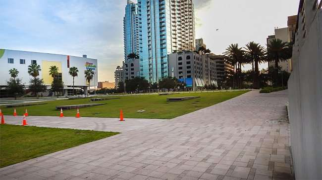 AUG 23, 2015 - Curtis Hixon Waterfront Park with view of Glazer Children's Museum and Skypoint, Downtown Tampa, FL/photonews247.com