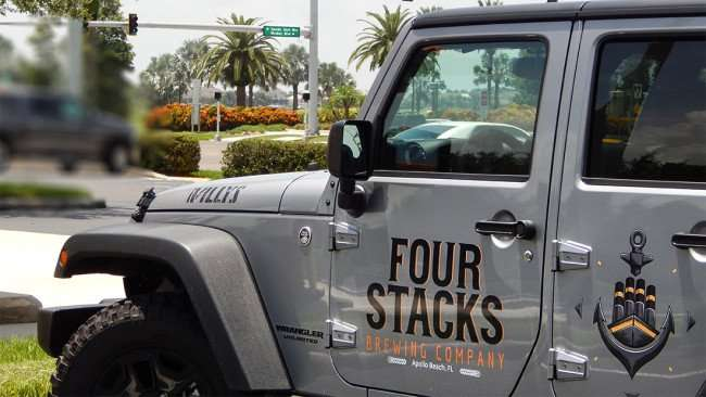 AUGUST 4, 2015 - Custom paint job on company Jeep for Four Stacks Brewing Company in Apollo Beach SouthShore, FL/photonews247.com
