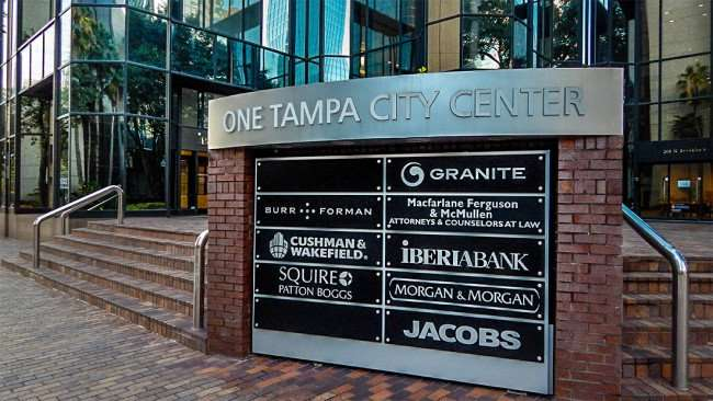 AUG 9, 2015 - Directory sign of One Tampa City Center, Burr Forman, MacFarlane Ferguson and Mcmullen Attorney, Cushman and Wakefield, Morgan and Morgan/photonews247.com