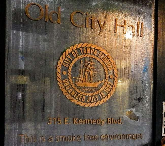 "AUG 9, 2015 - Door reads ""Old City Hall City Of Tampa Florida Organized July 15, 1887"" /photonews247.com"