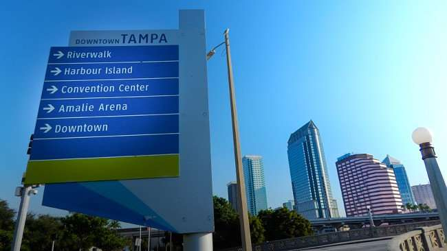 AUG 9, 2015 - Downtown Tampa direction map at beginning of Platt St Bridge with arrows pointing to Downtown, Convention Center, Amalie, Riverwalk/photonews247.com