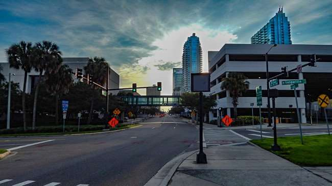 AUG 23, 2015 - Element Tampa (C) from Cass Street Bridge and Gasparilla, Downtown Tampa, FL/photonews247.com