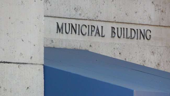 AUG 9, 2015 - Embossed lettering that reads Municipal Building in Downtown Tampa, FL/photonews247.com