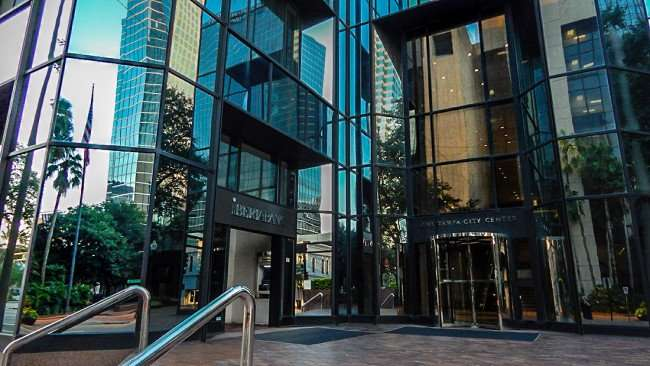 AUG 9, 2015 - Entrance to One Tampa City Center (PNC) skyscraper on Jackson St, Downtown Tampa, FL/photonews247.com