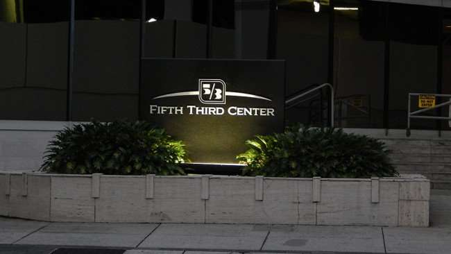 AUGUST 9, 2015 - Fifth Third Center Bank sign, Downtown Tampa, FL/photonews247.com