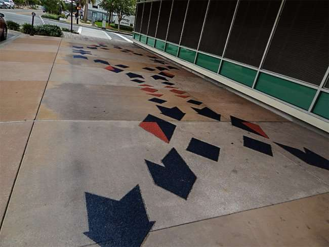NOV 15, 2015 - Franklin Exchange building with blue and red safety anti-slip material on sidewalk, Tampa, FL/photonews247.com