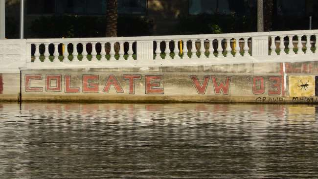 AUG 9, 2015 - GOLGATE VW 03 graffiti lettering painted on Hillsborough River wall along BayShore Blvd, Tampa, Florida/photonews247.com