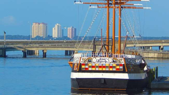AUG 9, 2015 - Gasparilla Pirate Ship docked along Bayshore Linear Park in Tampa, FL/photonews247.com