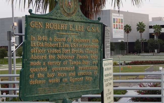 AUG 23, 2015 - Historical Marker about how General Robert E. Lee came to Tampa aboard the Schooner Phenix to survey strategic military areas in 1948/photonews247.com