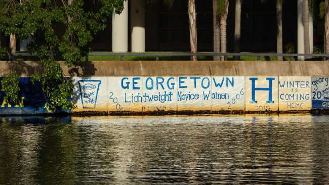AUG 23, 2015 - Graffiti GeorgeTown Lightweight Novice Women 2006 on Hillsborough River seawall, Tampa, FL/photonews247.com