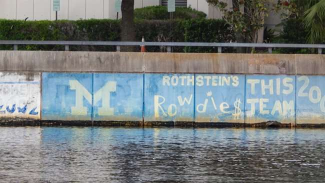 AUG 23, 2015 - Graffiti M Rothstein Rowdies on seawall of Hillsborough River, Tampa, FL/photonews247.comAUG 23, 2015 - Graffiti M Rothstein Rowdies on seawall of Hillsborough River, Tampa, FL/photonews247.com