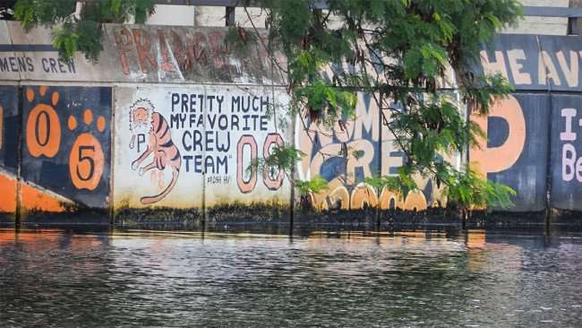 AUG 23, 2015 - Graffiti on Hillsborough River seawall - Princeton Pretty Much My Favorite Crew Team 08/photonews247.com