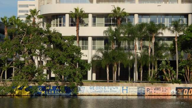 AUG 23, 2015 - Graffiti painted by Georgetown Crew Team along Hillsborough River in Tampa, FL/photonews247.com