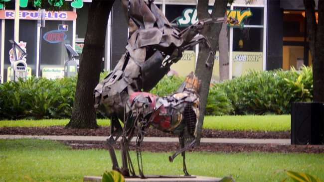 AUG 9, 2015 - Headless horse and pony in Lykes Gaslight Park, Downtown Tampa, FL/photonews247.com