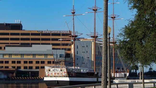 AUG 9, 2015 - Jose Gasparilla Pirate Ship with Tampa General Hospital in the background/photonews247.com