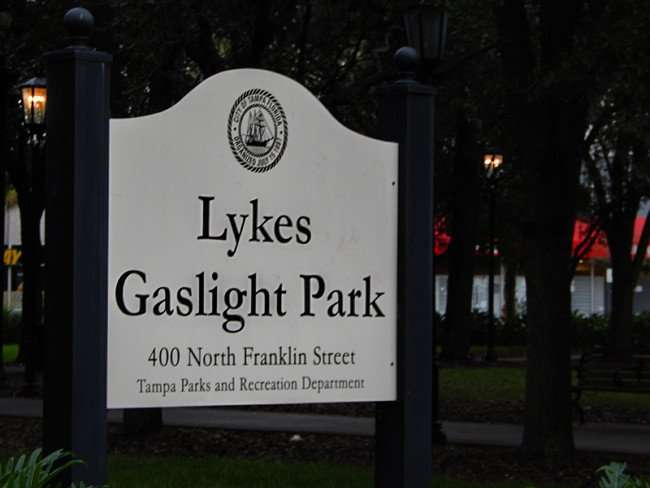NOV 15, 2015: Lykes Gaslight Park sign at 400 N Franklin Street Tampa Parks and Recreation Department/photonews247.com