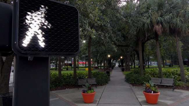 AUG 9, 2015 - Lykes Gaslight Park with old fashioned street lamps in Downtown Tampa, FL/photonews247.com