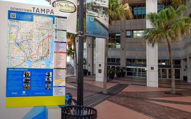 AUG 9, 2015 - Map of Downtown Tampa outside of Tampa Convention Center/photonews247.com