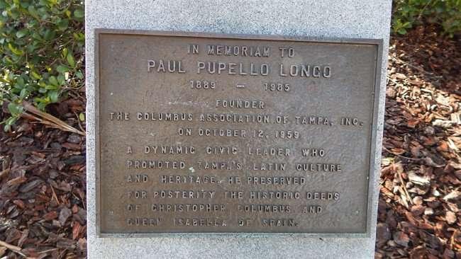 AUG 9, 2015 - Memorial in Columbus Statue Park for Paul Pupello Longo founder of the Columbus Association of Tampa/photonews247.com