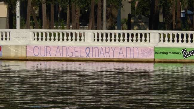 AUG 9, 2015 - OUR ANGEL and MARY ANN on pink background painted on Hillsborough River was along Bayshore Blvd, Tampa, FL/photonews247.com