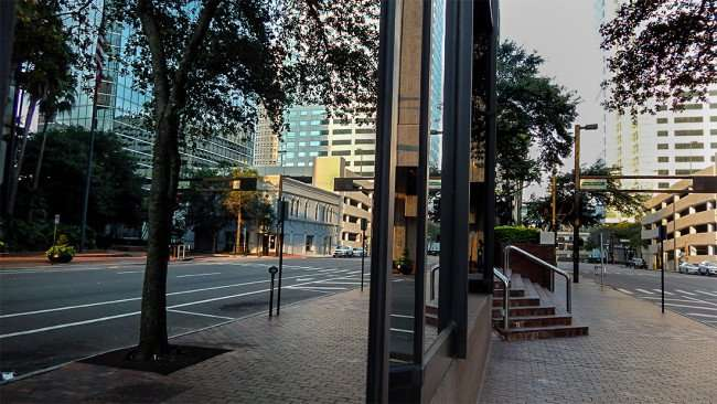AUG 9, 2015 - PNC building reflecting Fifth Third Bank from Jackson Street in Downtown Tampa, FL/photonews247.com
