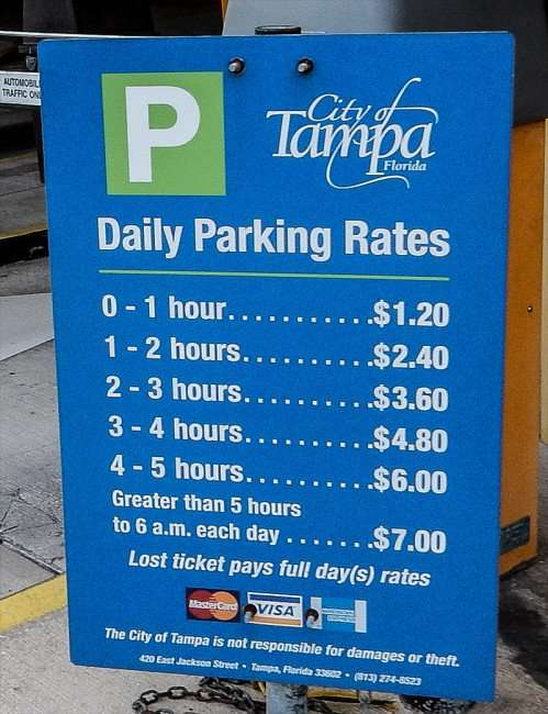 AUG 23, 2015 - Parking Rates at Poe Garage at Cass Street in Downtown Tampa, FL/photonews247.com