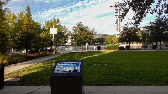 AUG 23, 2015 - Plaque that reads Tampa Salutes MacDill AFB at MacDill Park at the Riverwalk/photonews247.com