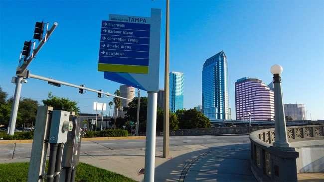 AUG 9, 2015 - Platt St Bridge connects Bayshore Walk to Riverwalk in Downtown Tampa, FL/photonews247.com
