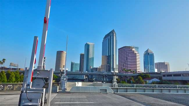 AUG 9, 2015 - Platt Street Bridge with Tampa Skyline in background/photonews247.com