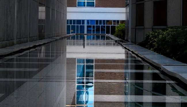 JULY 26, 2015 - Reflection of Photoggraphy Arts building from bed of water, Tampa, FL/photonews247.com