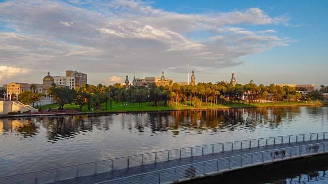 JULY 26, 2015 - Riverwalk from Nations Bank Park looking over Hillsborough River at University of Tampa UT, Tampa, FL/photonews247.com