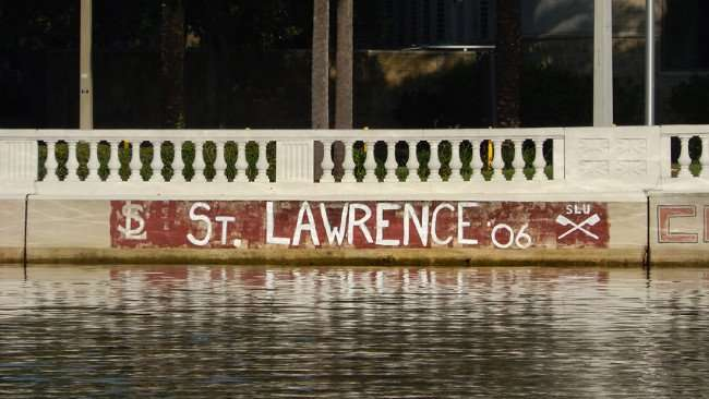 AUG 9, 2015 - ST LAWRENCE 06 graffiti lettering painted on Hillsborough River wall along BayShore Blvd, Tampa, Florida/photonews247.com/photonews247.com