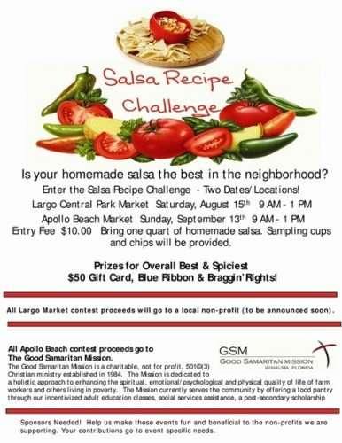 Salsa Recipe Contest Largo and Apollo Beach, FL