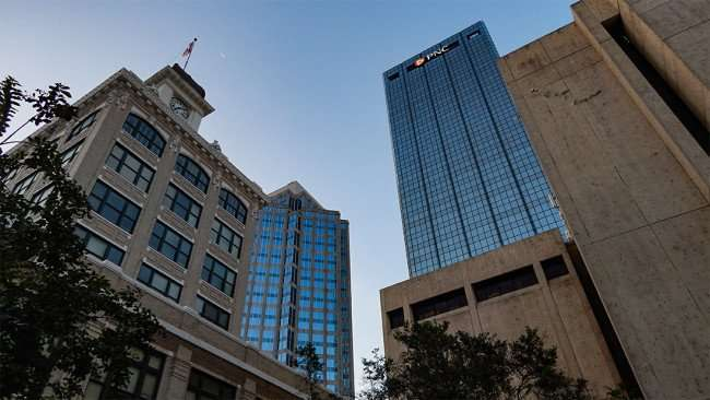 AUG 9, 2015 - (Buildings L to R) Tampa City Hall, SunTrust Financial Center, PNC One Tampa Center Plaza and Municipal Offices in Downtown Tampa, FL/photonews247.com