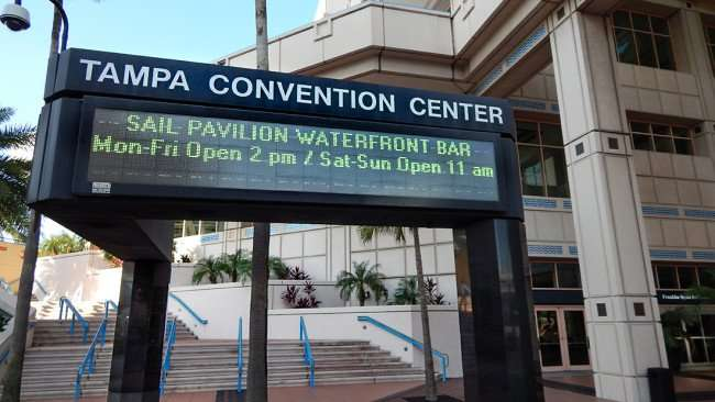 AUG 9, 2015 - Tampa Convention Center Marquee at Franklin St promoting Sail Pavilion Waterfront Bar/photonews247.com