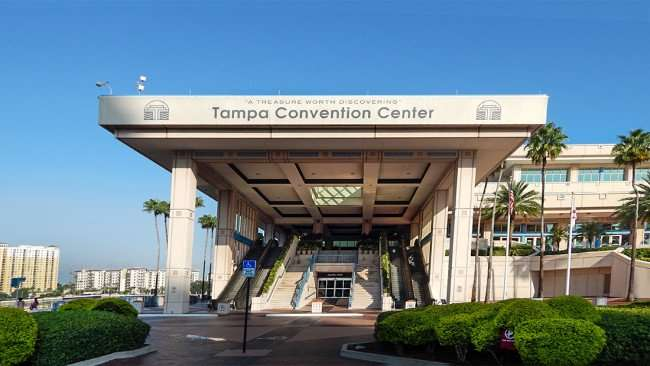 AUG 9, 2015 - Tampa Convention Center portico and parking lot entrance with escalators/photonews247.com