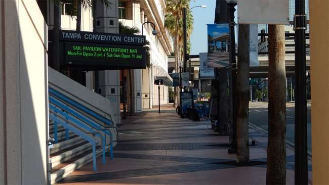 AUG 9, 2015 - Tampa Convention Center sidewalk along Franklin Street in Downtown Tampa, FL/photonews247.com