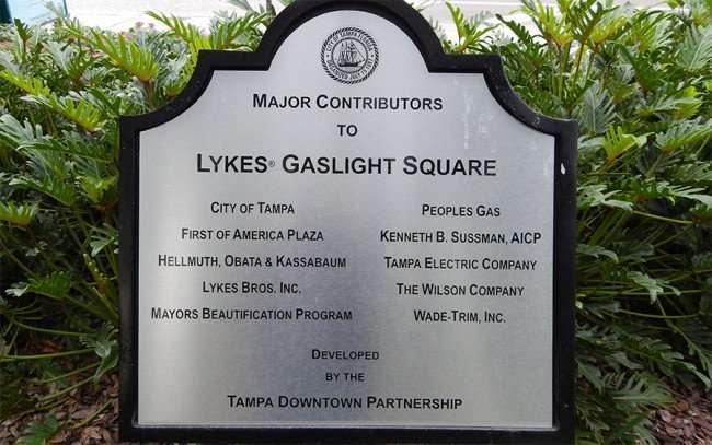 NOV 15, 2015 - Gaslight Park's Major Contributors: Lykes Bros Inc, Peoples Gas, Tampa Electric, First Of America Plaza, Mayors Beautification Program/photonews247.com