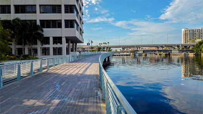 AUG 23, 2015 - Tampa Riverwalk make out of wooden planks and steel railings at MacDill Park in Downtown Tampa/photonews247.com